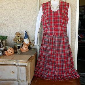 One of a Kind Plaid Office Skirt Vest Set sz 4 S